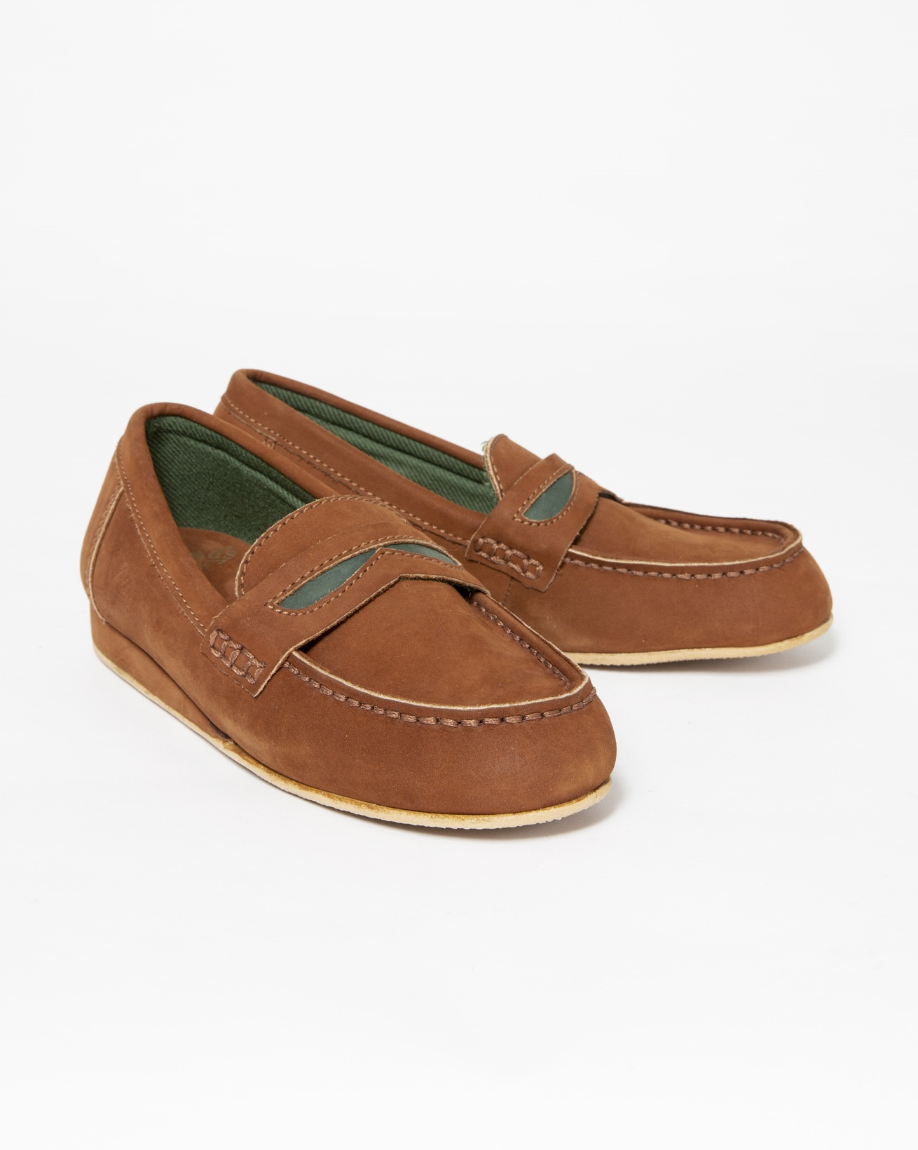 Ladies Loafer Slipper - Size EU 37 - Tan & Green